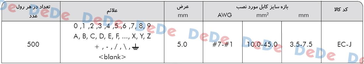 جدول سایز های حروف سیم و شماره سیم تخت