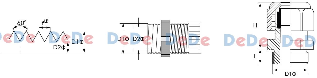 شماتیمک گلند فلزی رزوه متریک