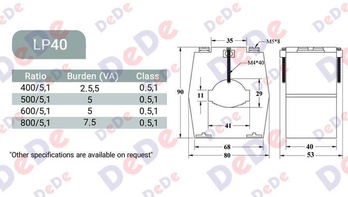 اطلاعات فنی ترانسفورمر اندازه گیری lp40 جریان