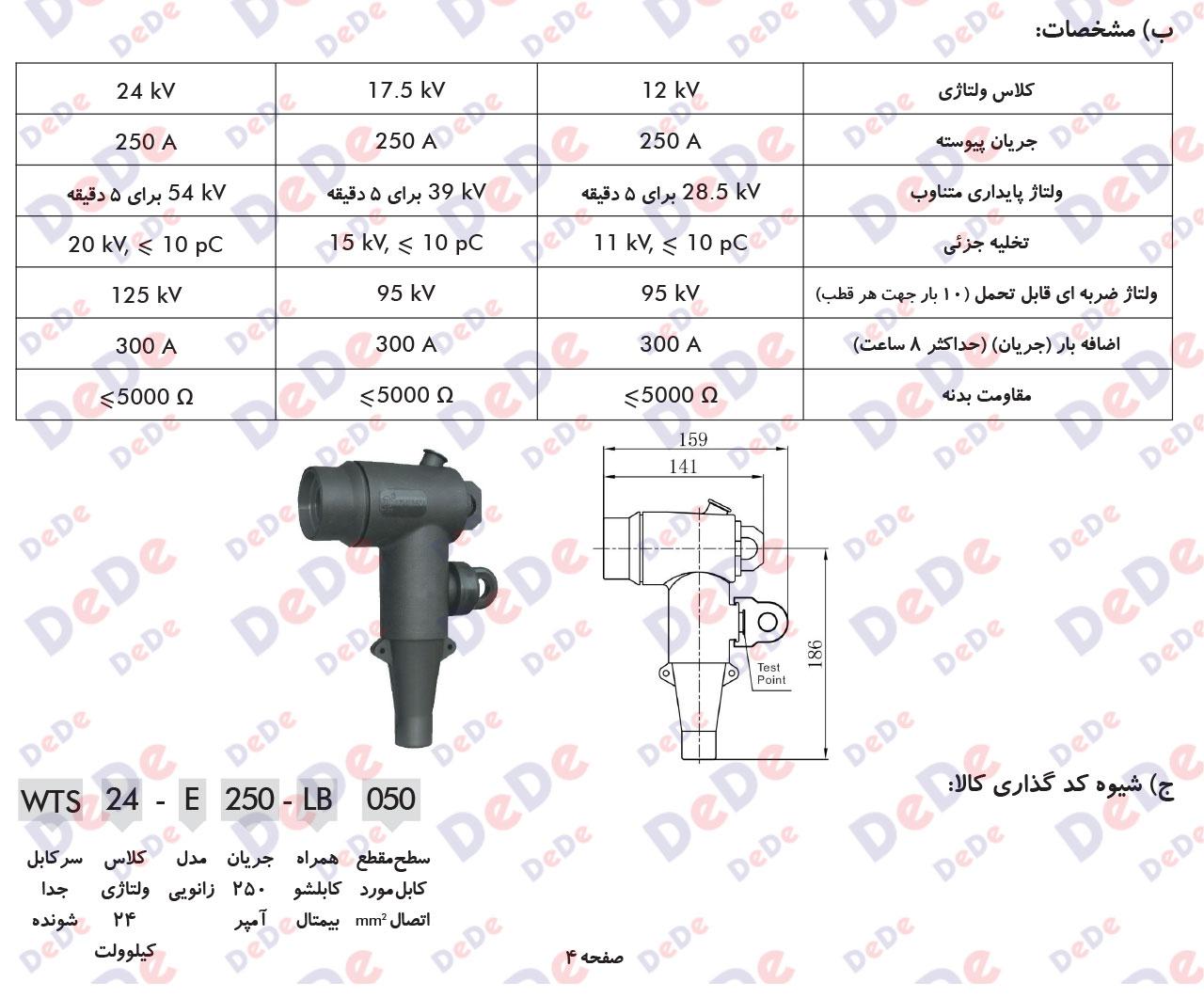 سرکابل جداشونده 250 آمپر24 کیلو ولت مدل زانویی (Elbow)
